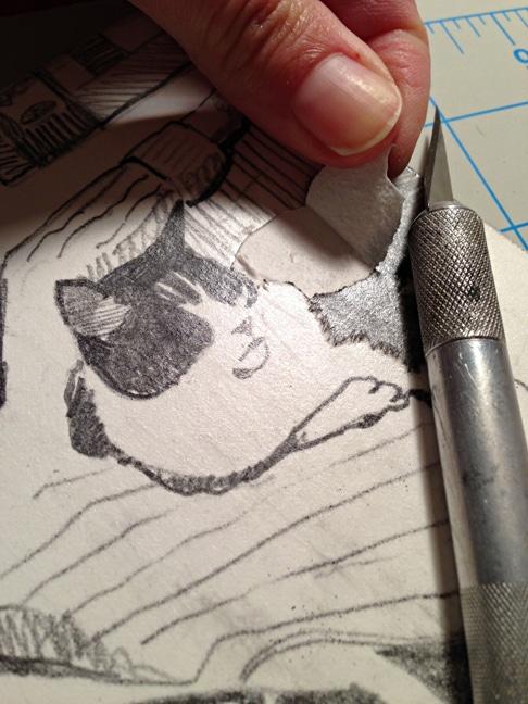 making a mat board collagraph portrait
