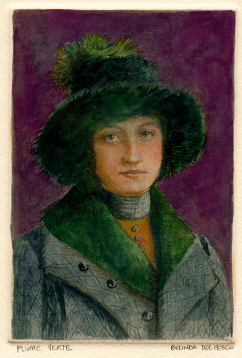monotype portrait with watercolor