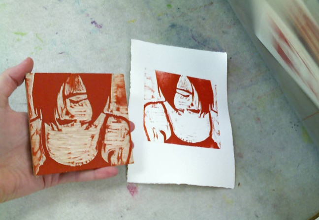 reduction woodcut printmaking of the first color