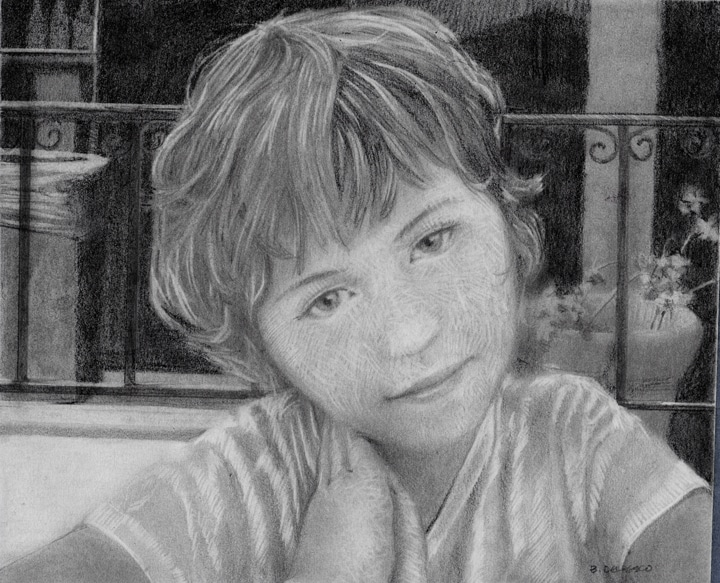 graphite drawing of a little girl
