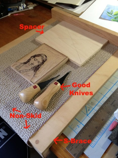 relief printmaking woodcut set up