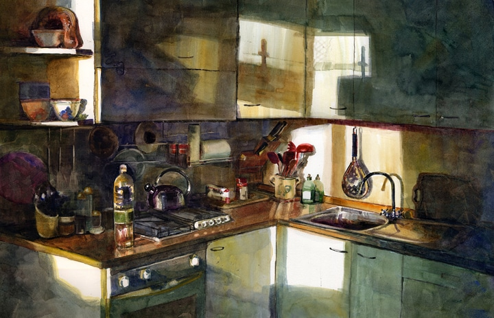 watercolor of a kitchen