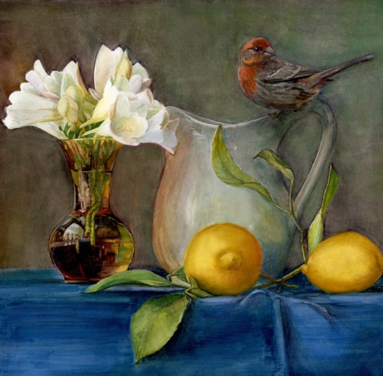 floral still life watercolor with a bird
