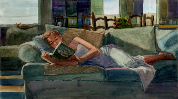A figurative watercolor of a woman reading on the couch