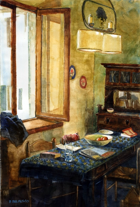 A table in front of an open window in watercolor