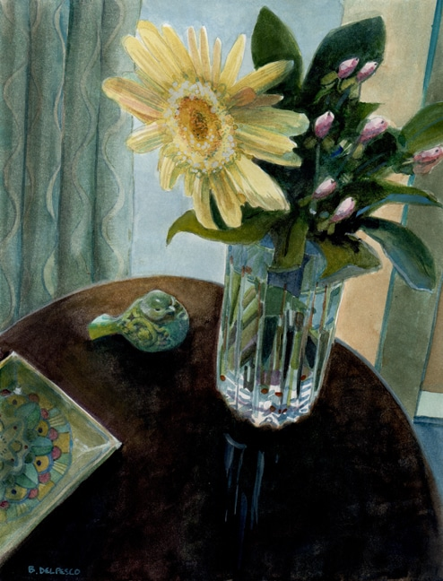 a watercolor of a gerbera daisy in a cut crystal vase next to a bird figurine