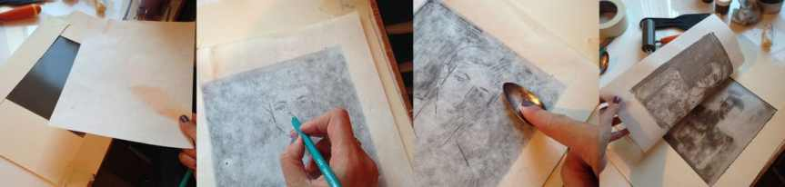 Step by step on a trace monotype print