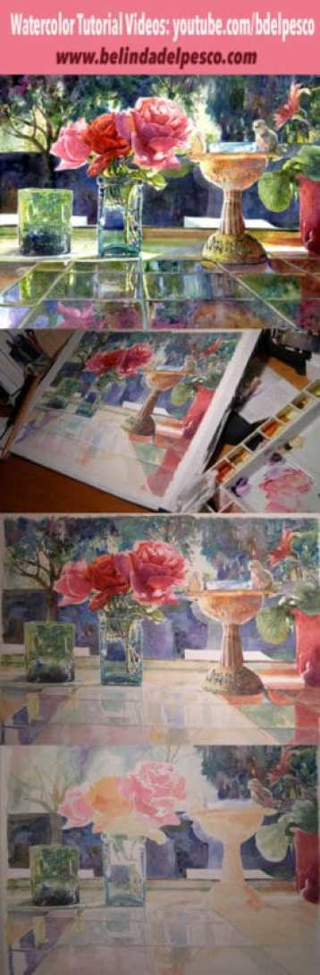 Painting watercolor in sheer layers to build values slowly gives you a lot more control