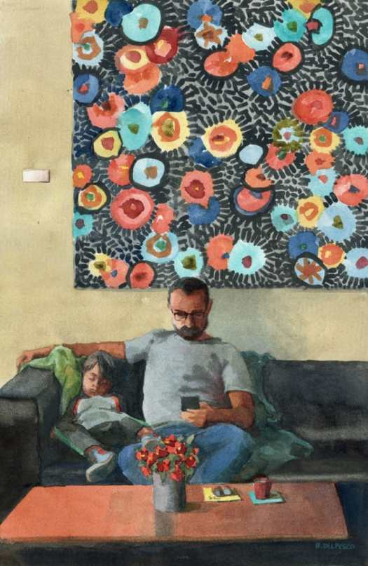a father and son (napping) in a cafe with a large abstract painting behind them - painted in watercolor