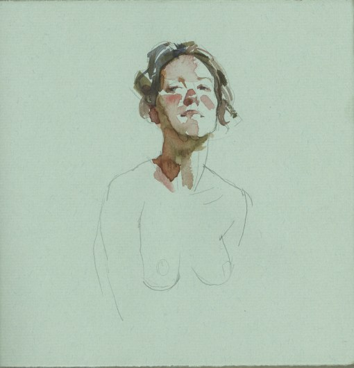 a figure with head and shoulders sketched in pencil and a few light brush marks of watercolor on the face, neck and hair