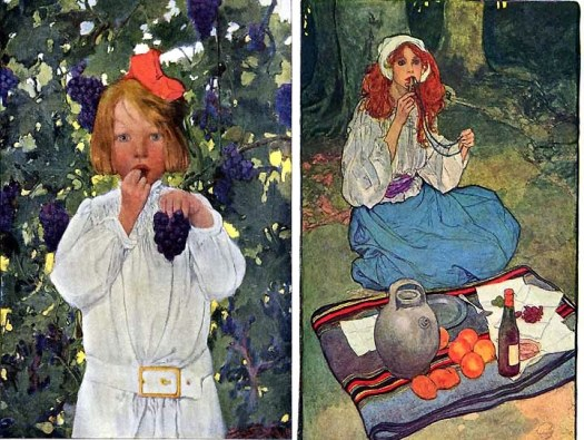 a child eating grapes by Sarah Stillwell, and an illustration by Elizabeth Shippen Green for a 1911 Harper's Magazine