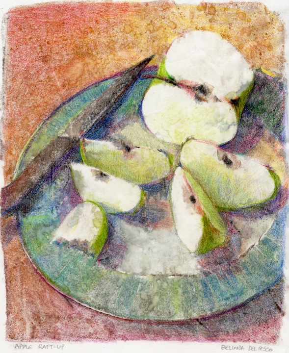 a color monotype of apple slices on a plate with a knife