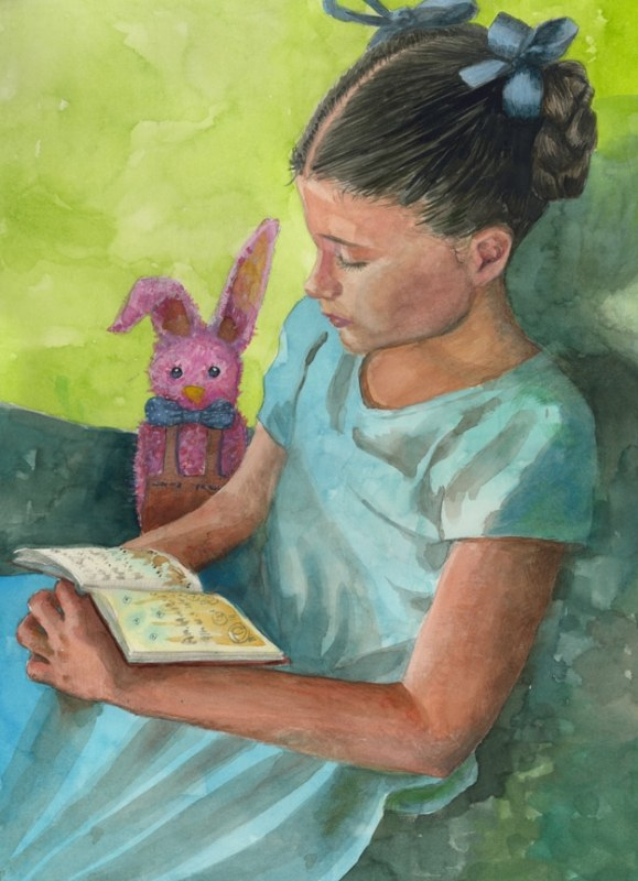 a watercolor of a little girl in a blue dress with her hair in looped braids, seated with a book in her lap, and a furry pink bunny next to her.