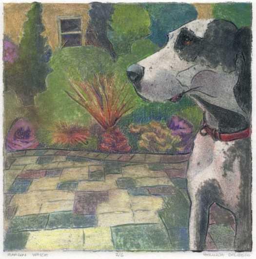 Collagraph print art of a great dane in a garden, looking alert by Belinda Del Pesco