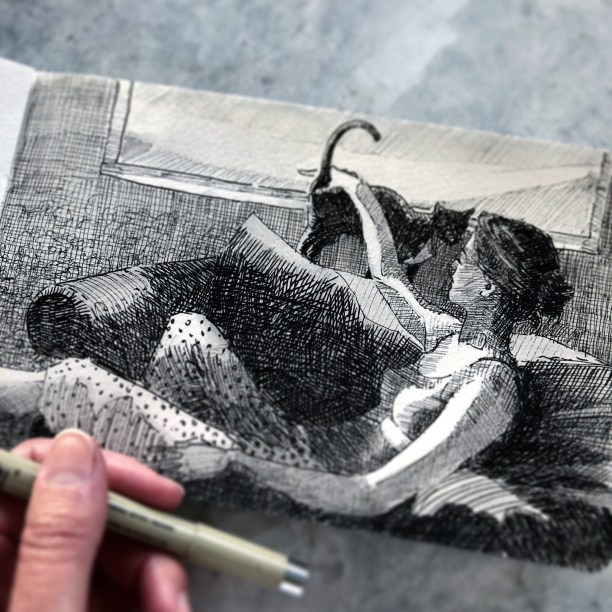 a pen and ink drawing of a girl in pajamas on an overstuffed chair, petting a cat