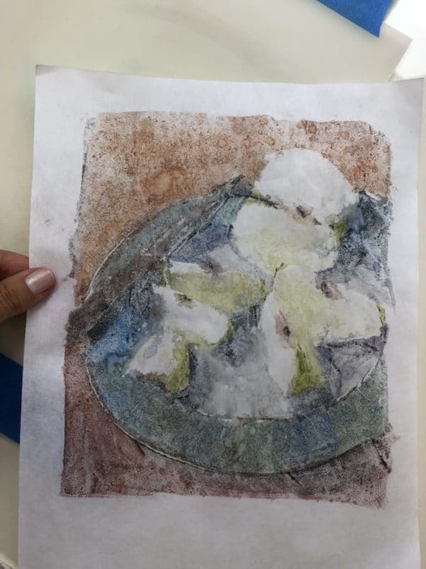 a color monotype on kozo paper
