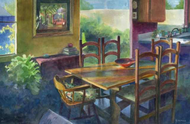 a watercolor painting of a dining room with slanted early morning light