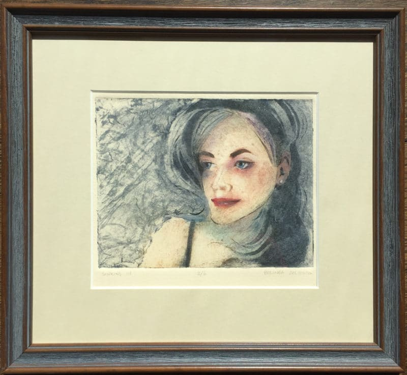 a framed full color collagraph portrait print