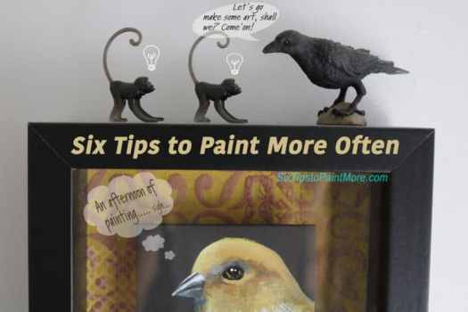 two monkeys and a crow discuss painting more often
