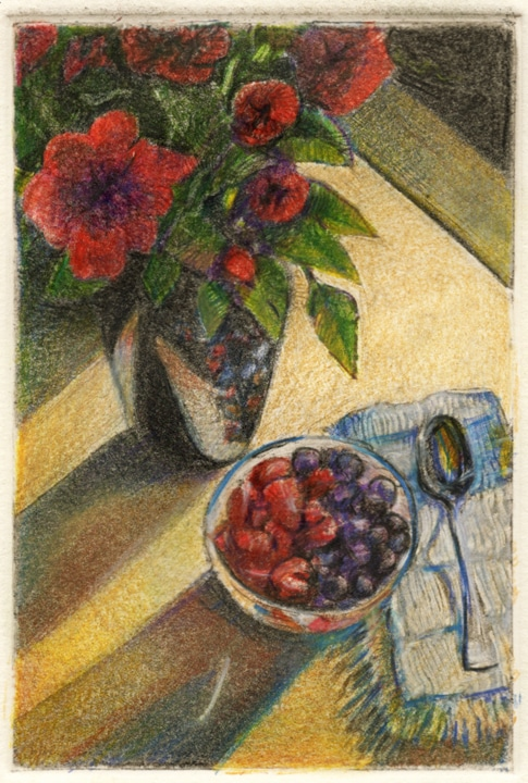 a small monotype still life as though looking down at a bowl of berries with a spoon on a napkin in slanted sun next to a vase of roses