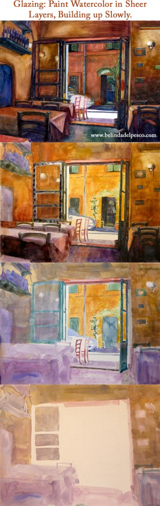 Your watercolor paintings will be closer to your reference material if you build the layers, colors and values slowly.