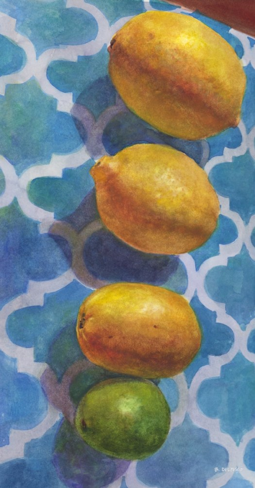 a still life painting of a row of lemons and one lime in a vertical line up on a blue patterned cloth, painted in watercolor