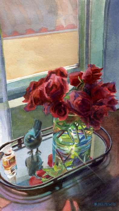 A watercolor floral still life of roses in a glass vase on a mirrored tray with reflections and refracted light and a bird figurine