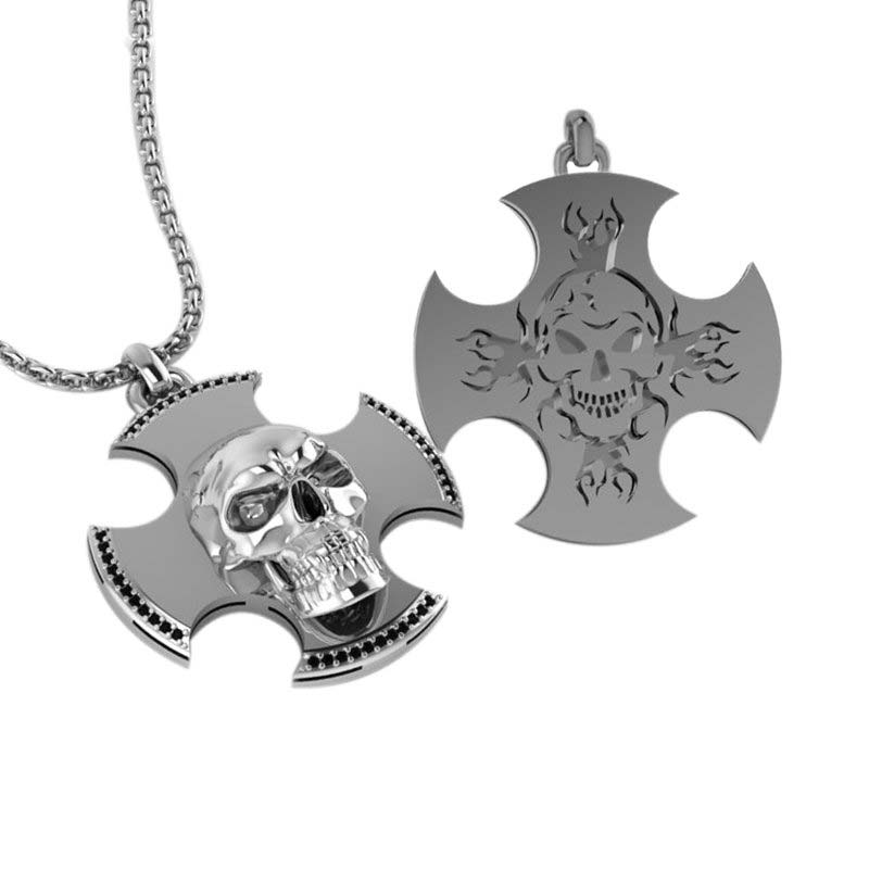 Three-dimensional skull cross Necklace