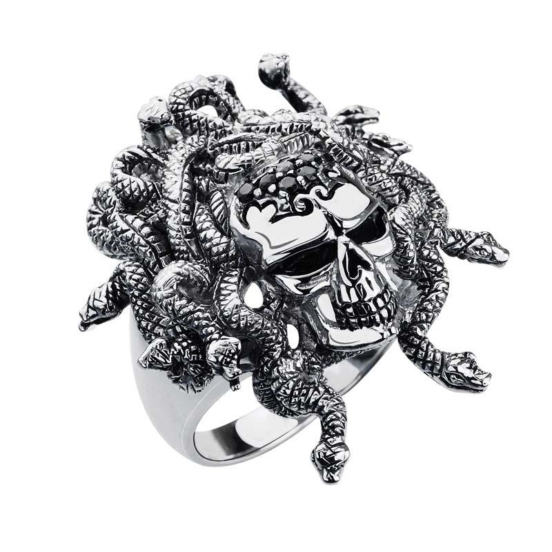 Fierce looking sterling skull ring boasting Medusa style crown of vipers