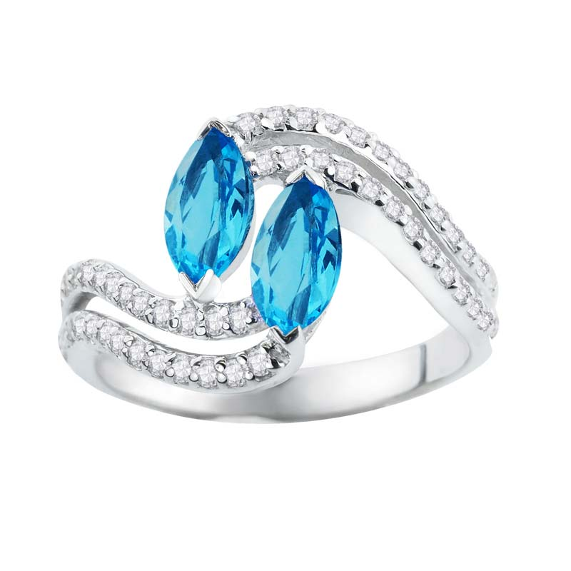 Express desire to be together ring with two Swiss Blue Topaz