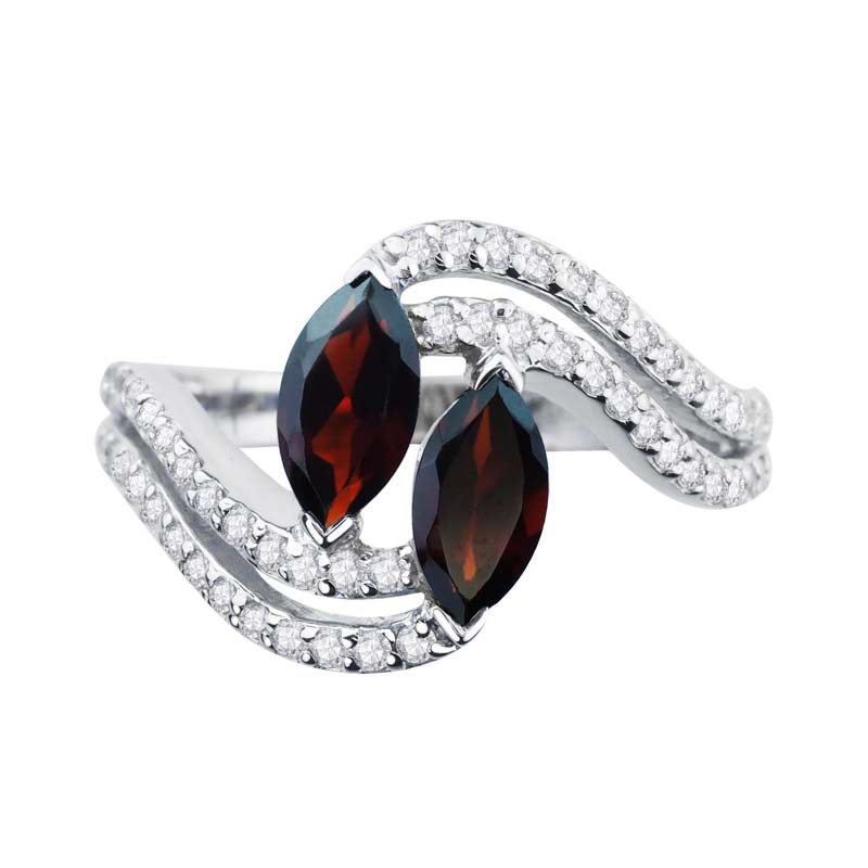 Express desire to be together ring with two Red Garnet