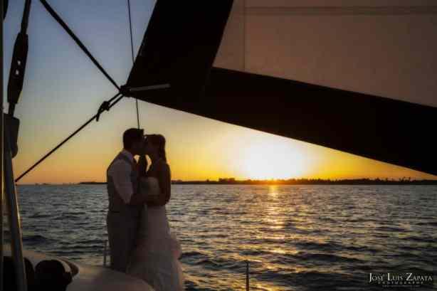 Catamaran wedding in belize