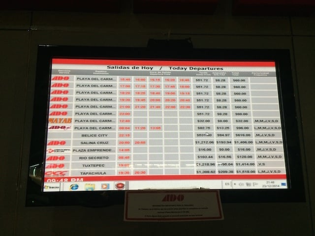ADO bus schedule to belize from cancun