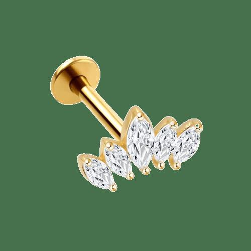 14k Solid Gold 5 Gem Tiara - Bella Andrea London