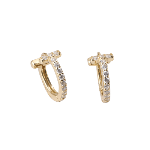 T-bar Crystal Huggies - Bella Andrea London - Piercing Jewellery