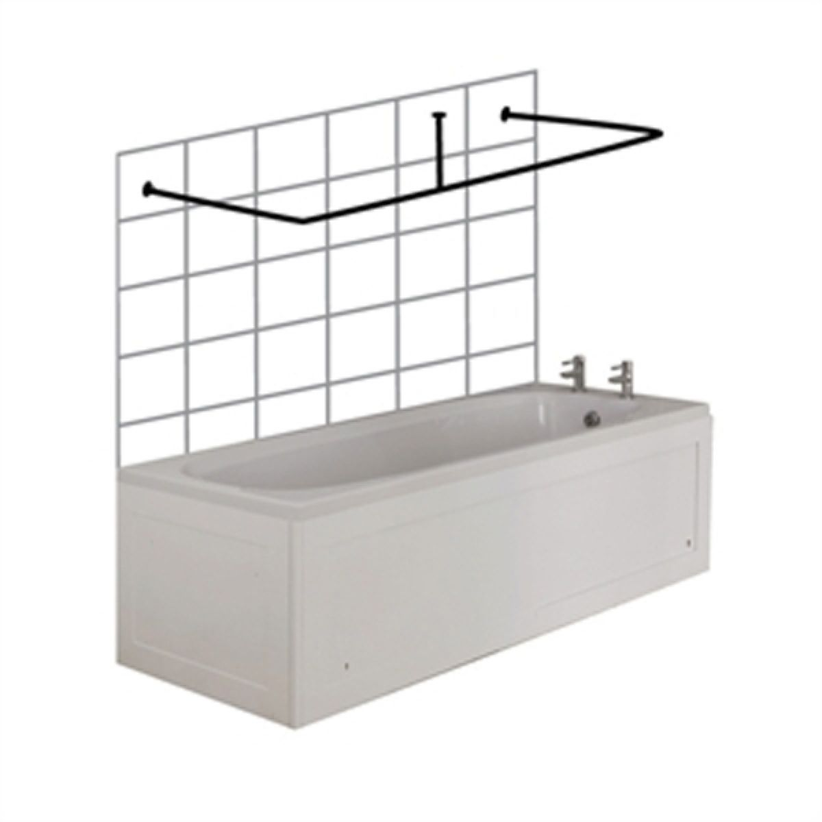 croydex c shaped shower curtain rail and ceiling support chrome