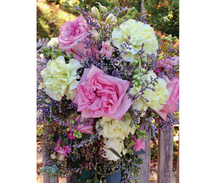 cascading garden rose wedding bouquet Bella Blumen Lake Leelanau Michigan