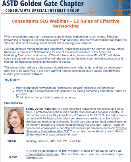 12 Rules of Effective Networking as a webinar