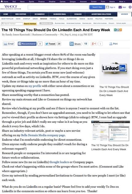 SandyJK on Yahoo! LinkedIn 10things