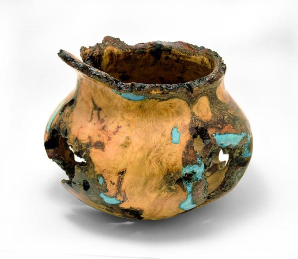 Burl wood bowl with turquoise inlay