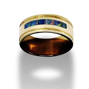 Gold men's ring with opals