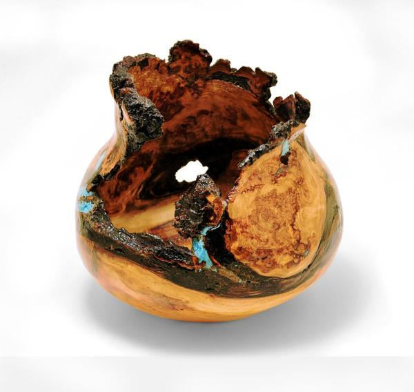 Handmade aspen burl turning with turquoise inlay