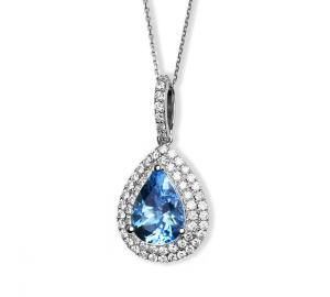 Teardrop shaped pendant with aquamarine stone in center