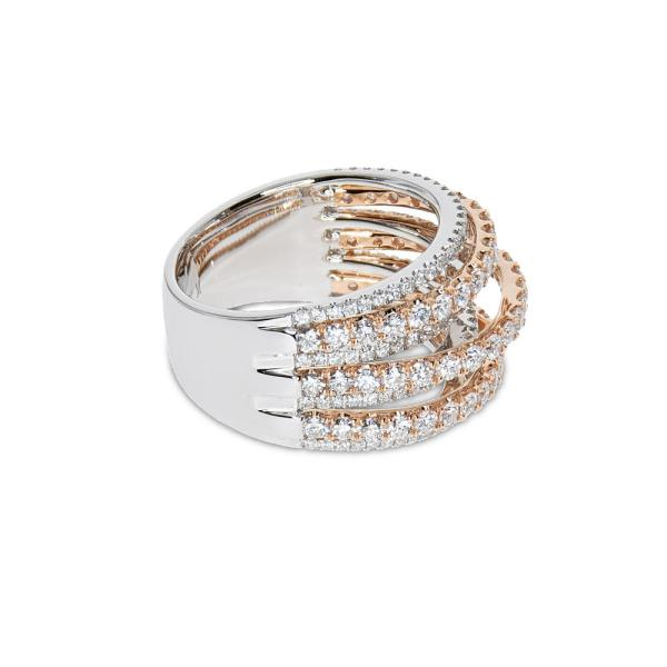 A multiple band ring with diamonds