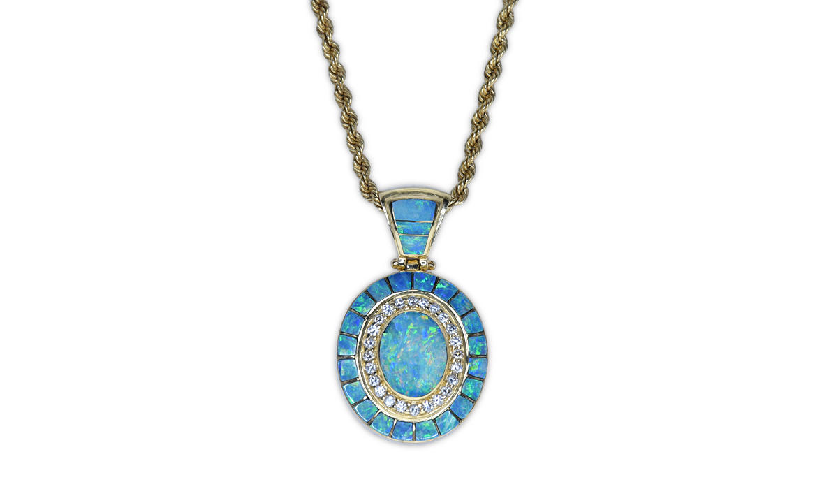 Gold Pendant with diamonds and fire opal
