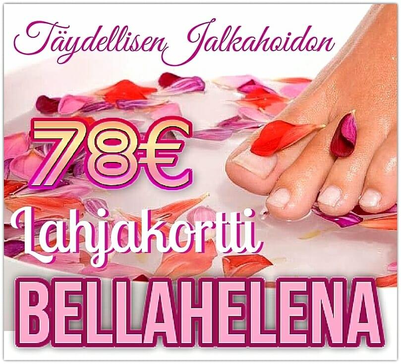 Kauneushoitola BellaHelena Oulu Täydellisen Jalkahoidon Lahjakortti 78€ giftcard