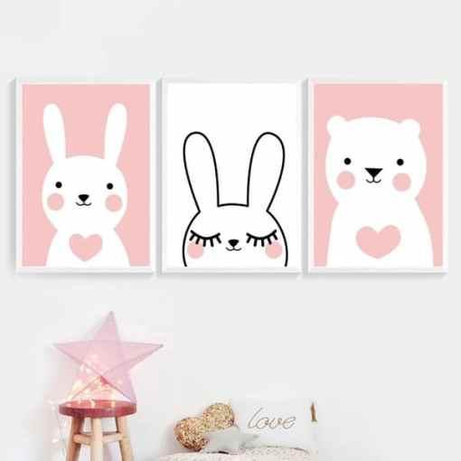 Canvas poster, konijn, beer