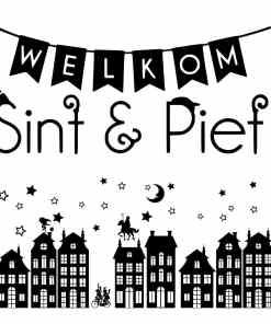 Raam sticker huisjes sinterklaas - Raam sticker - raamsticker - Sinterklaas decoratie - Welkom sint en piet