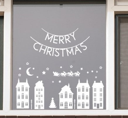 Kerst huisjes raamsticker
