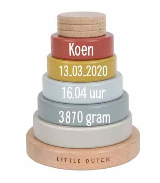 Little Dutch - Stapeltoren Pure & Nature - met naam - Leuke stapel toren met naam van Little Dutch Gepersonaliseerd met naam